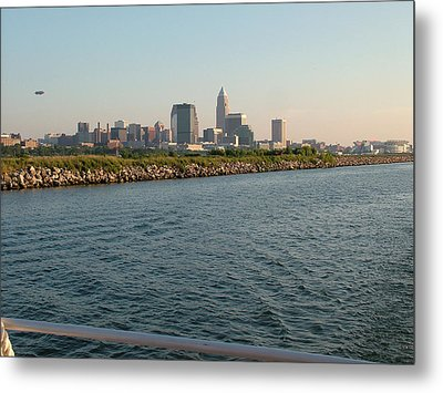 Cleveland Skyline From Blimp To Stadium Metal Print by Liz Copic