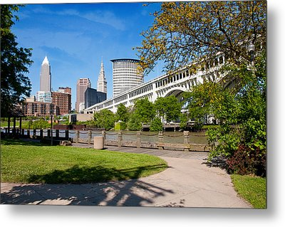 Cleveland Skyline From Riverbed Road Metal Print