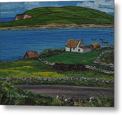 Clifden Thatched Cottage Sky Road Connemara Ireland Metal Print