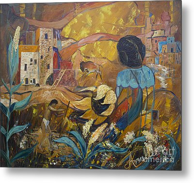 Metal Print featuring the painting Cliff Dwellers by Avonelle Kelsey