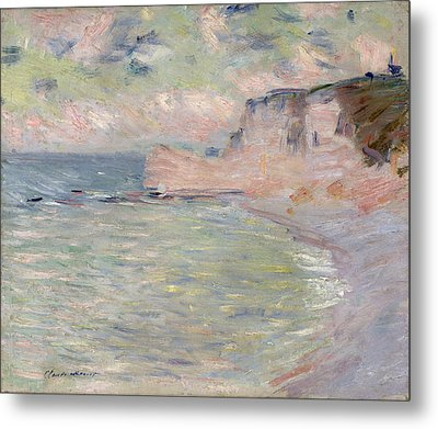 Cliffs And The Porte Damont, Morning Effect, 1885 Oil On Canvas Metal Print