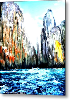 Metal Print featuring the painting Cliffs By The Sea by Bruce Nutting