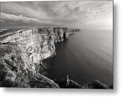 Cliffs Of Moher Ireland In Black And White Metal Print