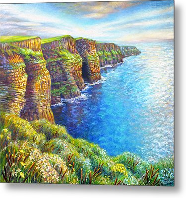 Metal Print featuring the painting Cliffs Of Moher by Nancy Tilles