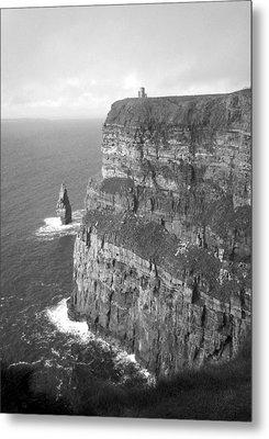 Cliffs Of Moher - O'brien's Tower B N W Metal Print
