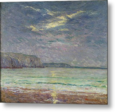 Cliffs With Setting Sun Oil On Canvas Metal Print by Maxime Emile Louis Maufra