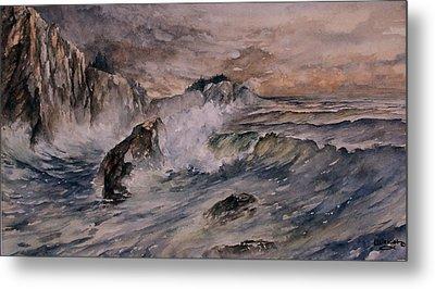 Cliffside Surf Metal Print