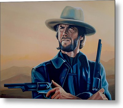 Clint Eastwood Painting Metal Print by Paul Meijering