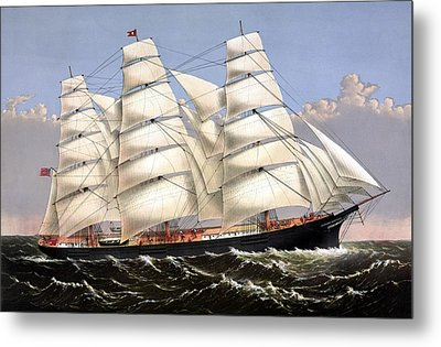 Clipper Ship Three Brothers Metal Print by War Is Hell Store