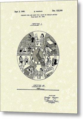 Clock Hands 1940 Patent Art Metal Print by Prior Art Design