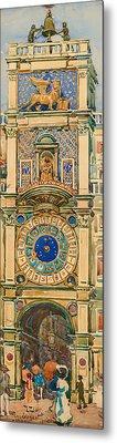 Clock Tower In Saint Mark's Square Venice Metal Print