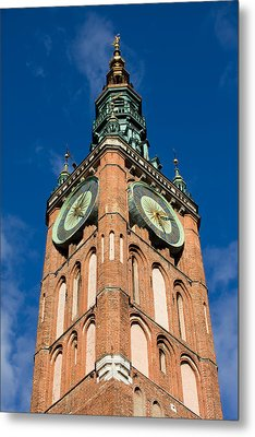 Clock Tower Of Main Town Hall In Gdansk Metal Print by Artur Bogacki
