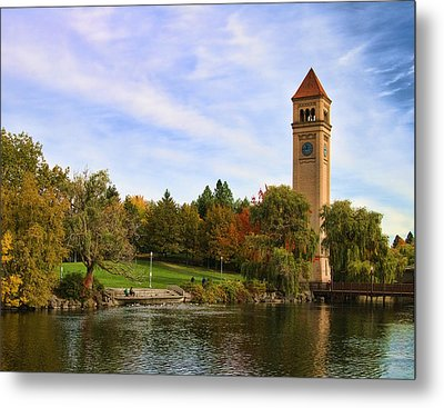 Clocktower And Autumn Colors Metal Print