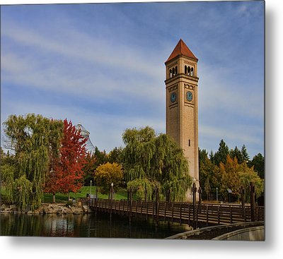 Clocktower Fall Colors Metal Print