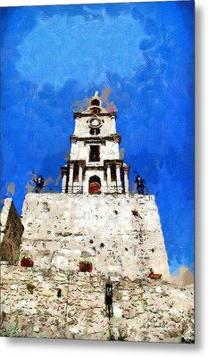 Clocktower With Guarding Knights Painting Metal Print by Magomed Magomedagaev