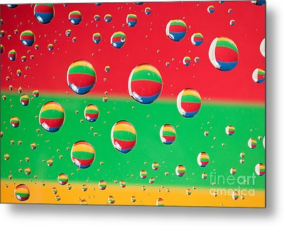 Clolrful Water Drop Reflections Metal Print by Sharon Dominick
