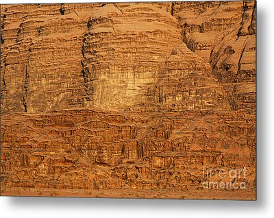 Close Up Of A Rocky Outcrop At Wadi Rum In Jordan Metal Print by Robert Preston