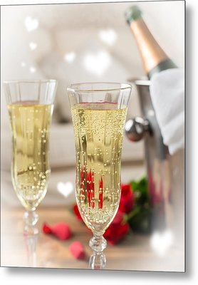 Close Up Of Champagne Metal Print by Amanda Elwell