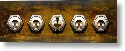 Close-up Of Five Switches Metal Print by Panoramic Images