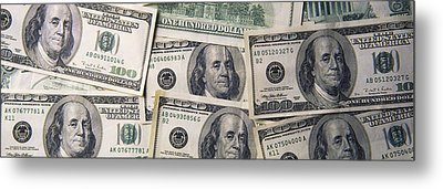 Close-up Of One Hundred Dollar Bills Metal Print by Panoramic Images