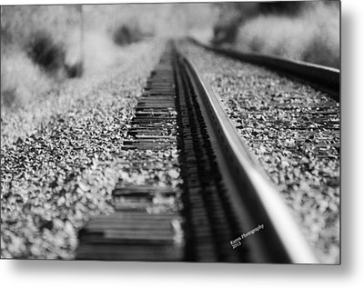 Metal Print featuring the photograph Close Up Of Rail Road Tracks by Karen Kersey