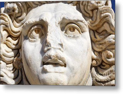 Close Up Of Sculpted Medusa Head At The Forum Of Severus At Leptis Magna In Libya Metal Print