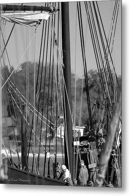 Close Up Of Tall Ship  Metal Print by Debra Forand