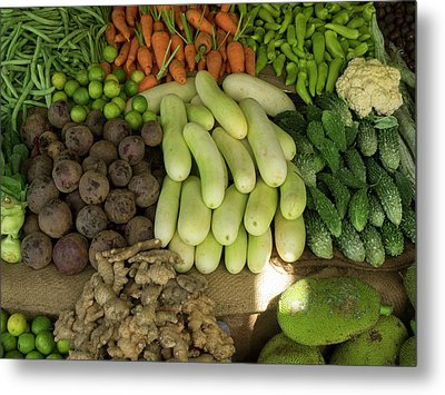 Close-up Of Vegetables For Sale On Main Metal Print by Panoramic Images