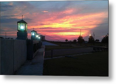 Closed Flood Gates Sunset Metal Print