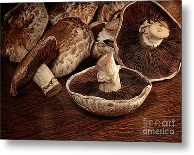 Closeup Of Fresh Portobello Mushrooms Metal Print