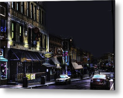 Memphis - Night - Closing Time On Beale Street Metal Print by Barry Jones