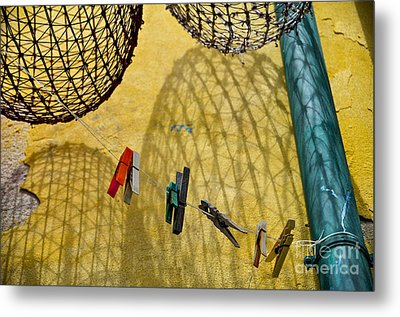 Clothesline And Fish Traps Metal Print