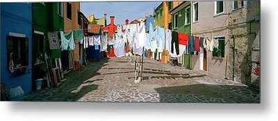 Clothesline In A Street, Burano Metal Print by Panoramic Images