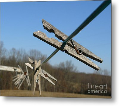 Metal Print featuring the photograph Clothespin In Winter by Jane Ford