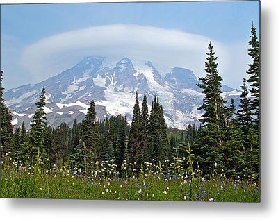 Cloud Capped Rainier Metal Print