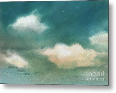 Cloud Diptych Left Metal Print by Joan A Hamilton