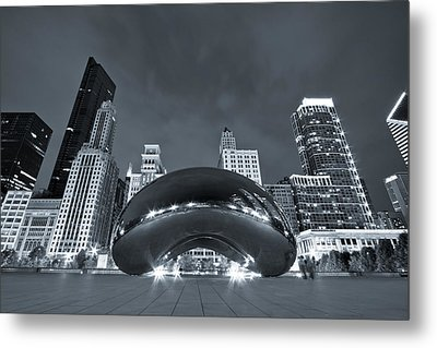 Cloud Gate And Skyline - Blue Toned Metal Print by Adam Romanowicz