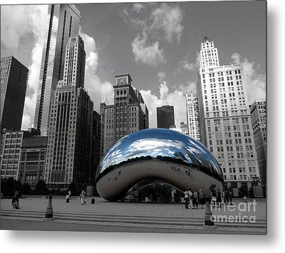 Cloud Gate B-w Chicago Metal Print