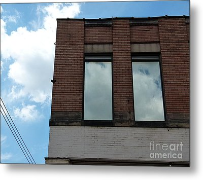 Cloud Reflection On Window Metal Print