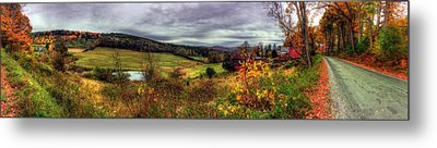 Cloudland Rd Panoramic - Vermont Metal Print by Joann Vitali