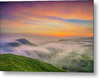 Clouds And Fog At Sunrise Metal Print by Marc Crumpler