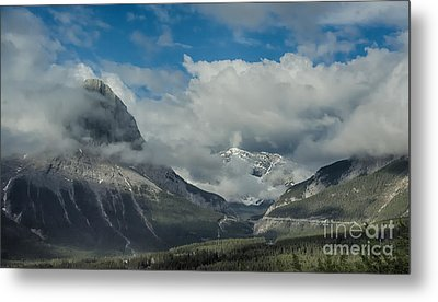 Clouds And Mist Over Canadian Rocky Mountain Peaks Metal Print