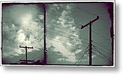 Clouds And Power Lines Metal Print