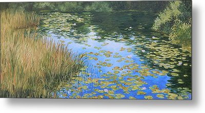 Clouds In The Pond Metal Print by Anna Lowther