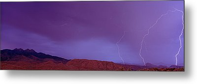 Clouds Lightning Over The Mountains, Mt Metal Print by Panoramic Images