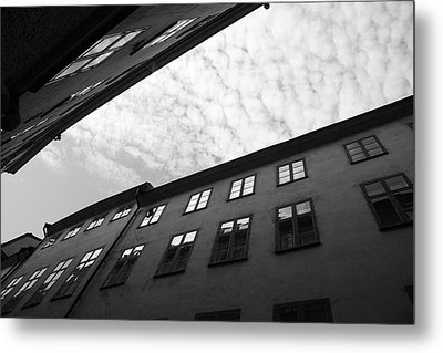 Clouds Over A Narrow Alley - Monochrome Metal Print by Ulrich Kunst And Bettina Scheidulin