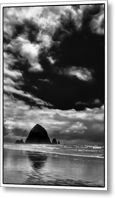 Clouds Over Haystack Rock On Cannon Beach Metal Print by David Patterson