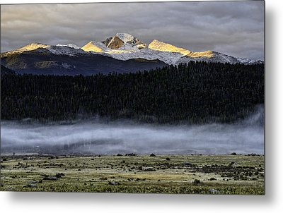 Clouds Over Longs Peak Metal Print by Tom Wilbert
