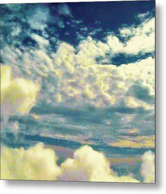 Clouds With Yellow Flecks - Square Metal Print