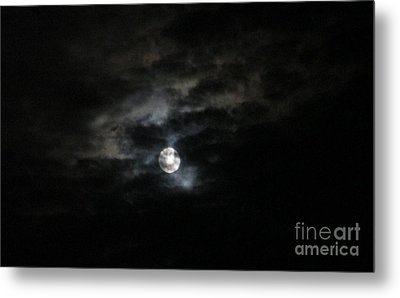 Night Time Cloudy Dark Moon Metal Print